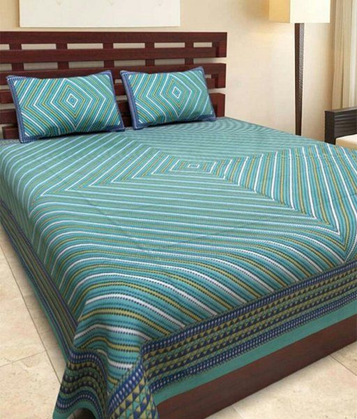 Kuber Industries™ 144 TC Cotton Double Bedsheet with 2 Pillow Covers - Green (BS10)
