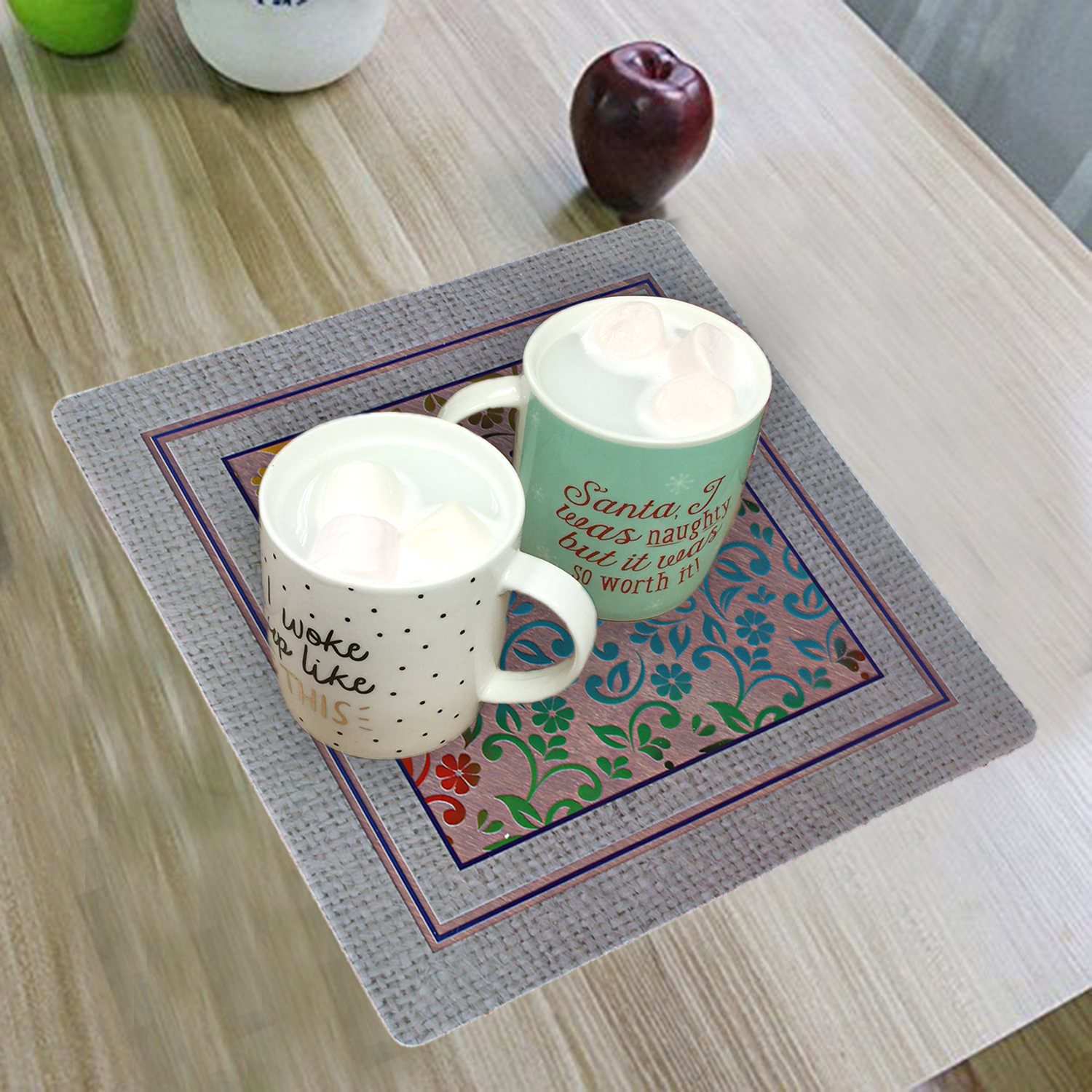 Kuber Industries 6 Pieces PVC Tea Coaster 23x23 CM (Grey)-CTKTC1313