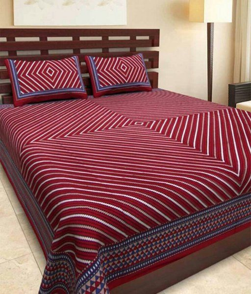 Kuber Industries™ 144 TC Cotton Double Bedsheet with 2 Pillow Covers - Red (BS11)