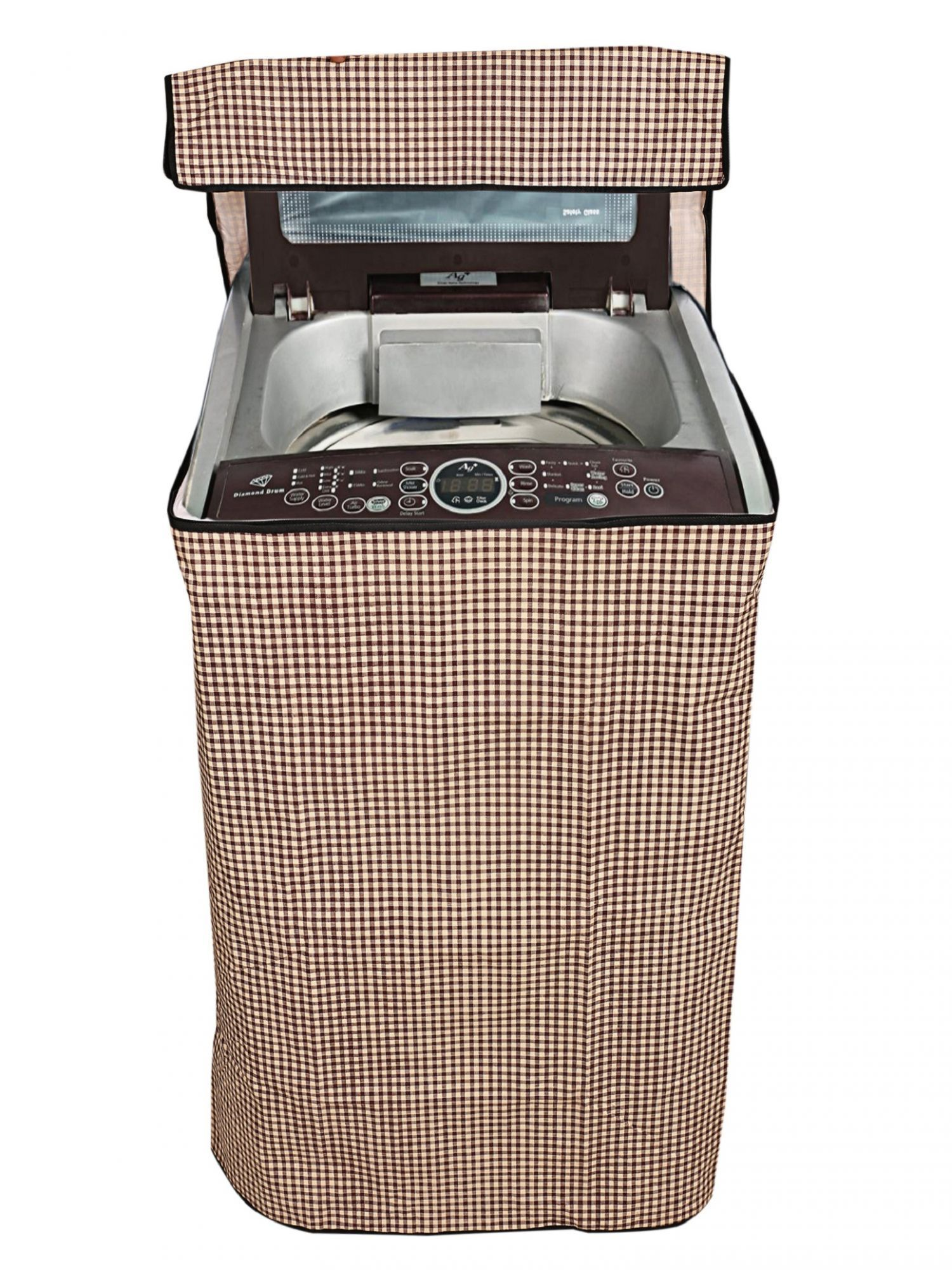 Kuber Industries Top Load Fully Automatic Washing Machine Cover (Brown)