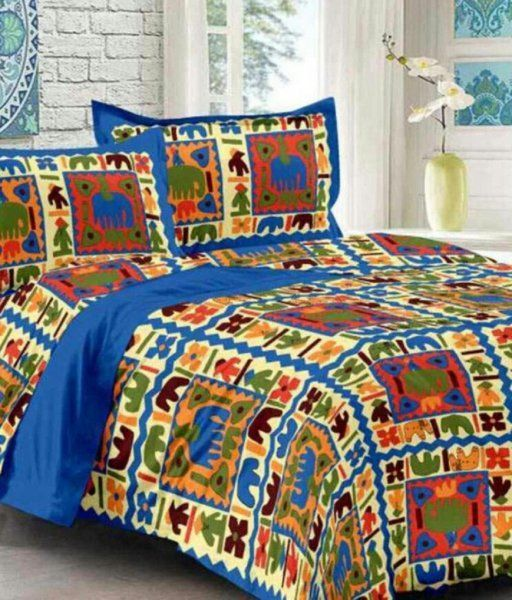 Kuber Industries™ 144 TC Cotton Double Bedsheet with 2 Pillow Covers - Blue (BS12)
