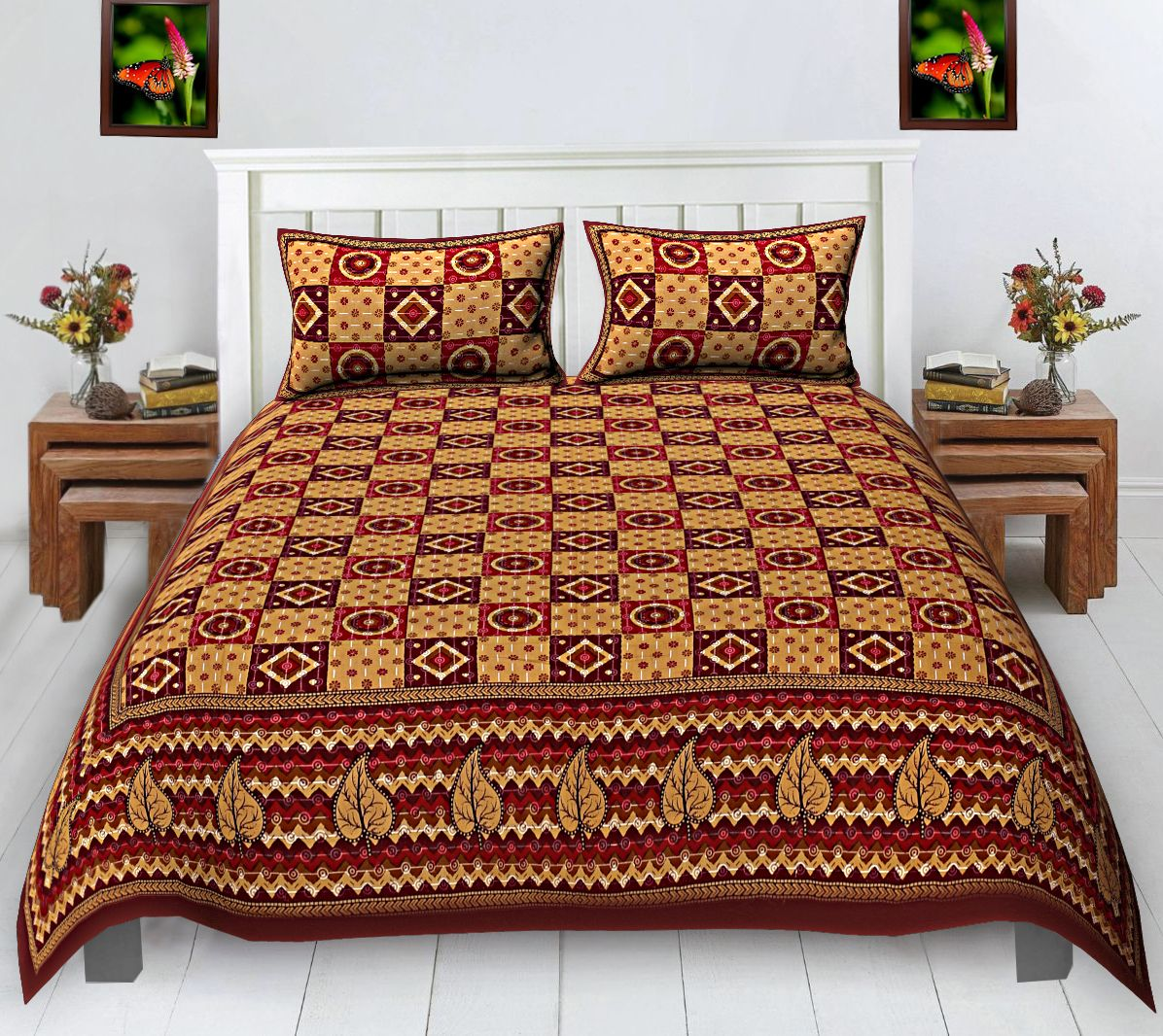 Kuber Industries 160 TC Cotton Double Bedsheet with Two Pillow Covers - Maroon