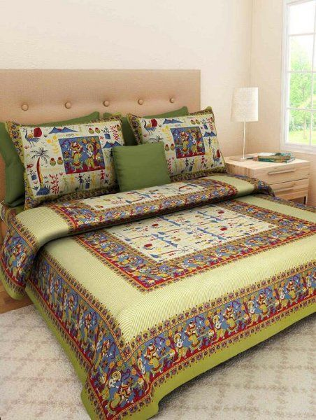 Kuber Industries™ 144 TC Cotton Double Bedsheet with 2 Pillow Covers - Green (BS13)