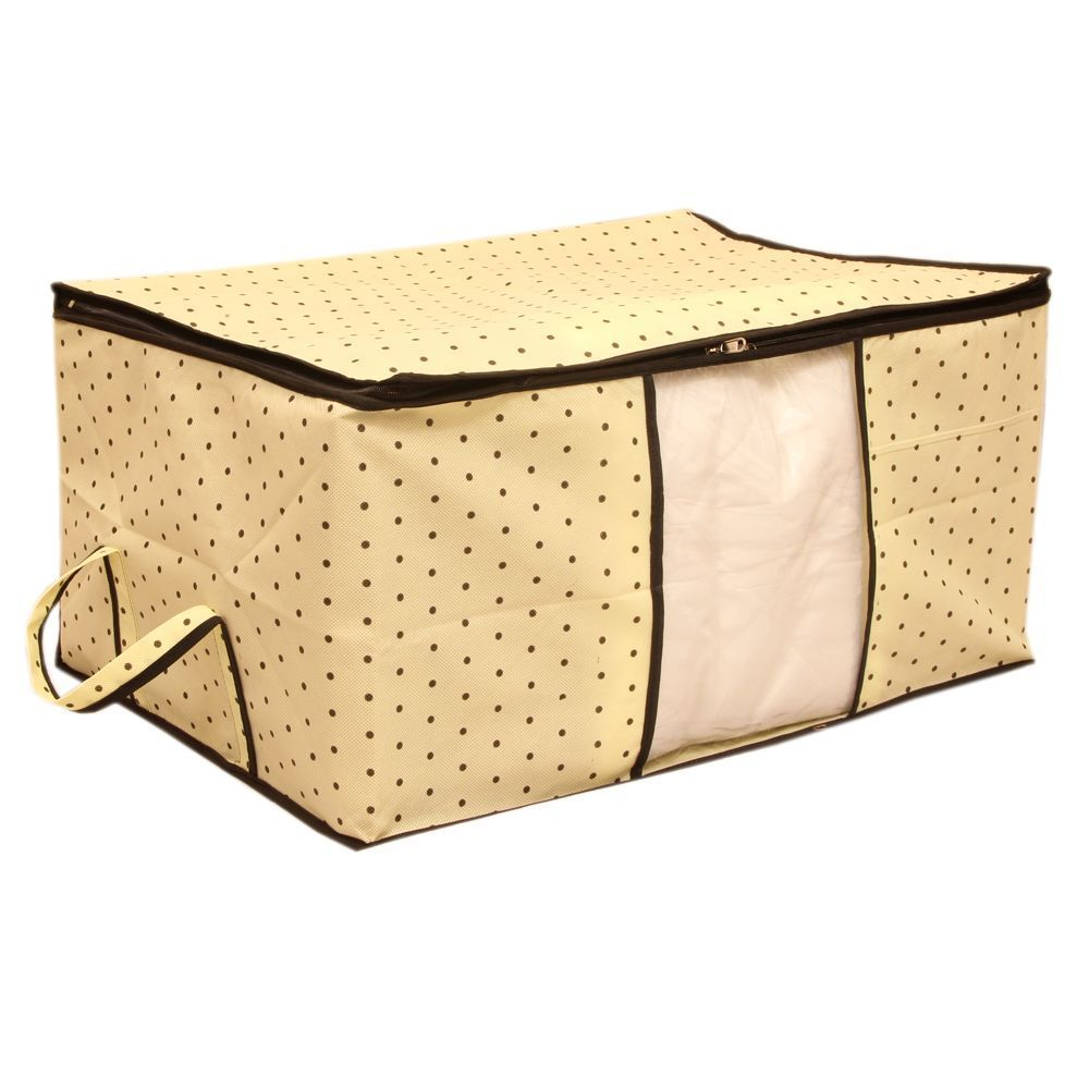 """Kuber Industries Non Woven Underbed Storage Bag, Extra Large, Cream Dot """