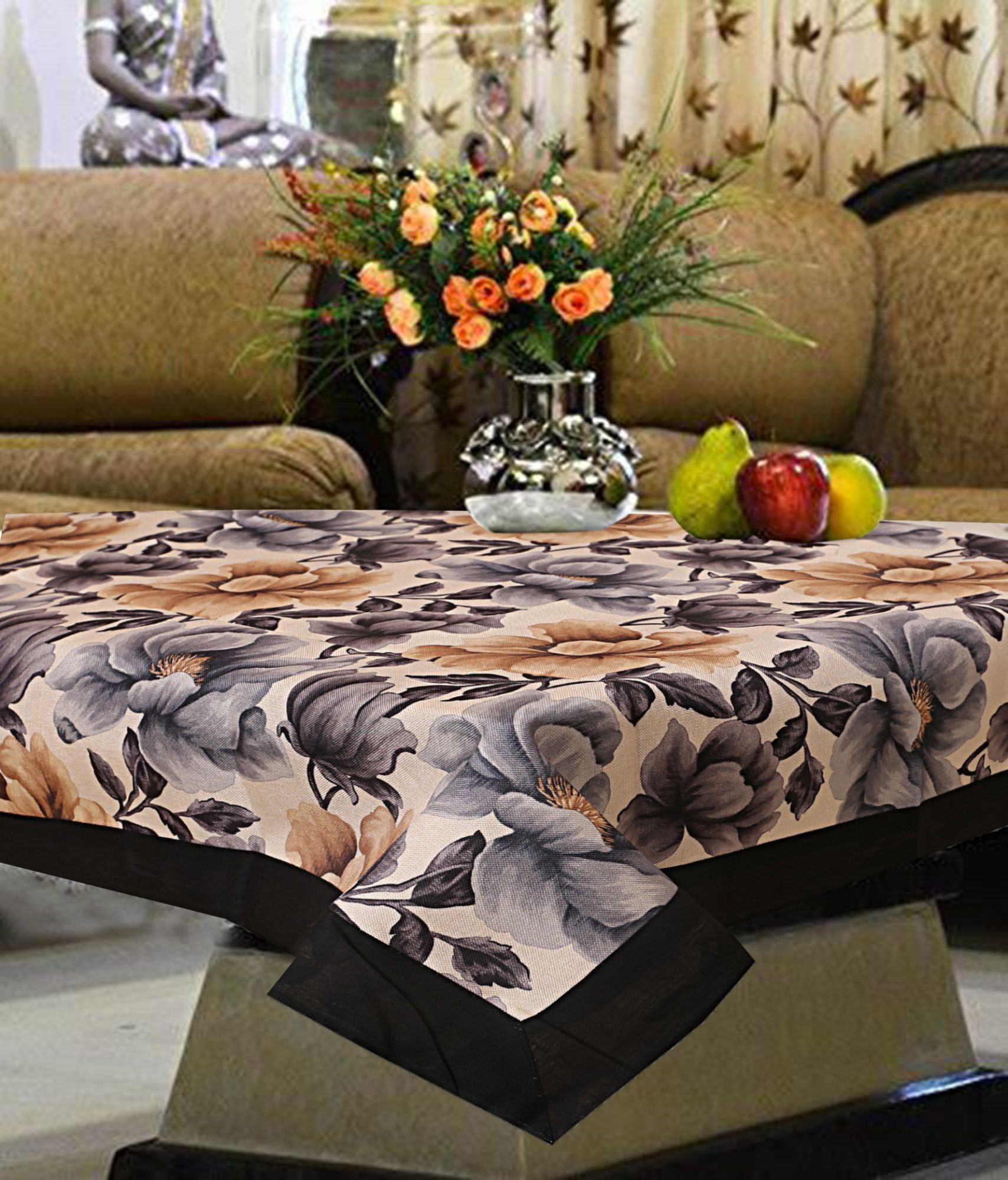 Kuber Industries Floral Design Cotton 4 Seater Center Table Cover 60x40 Inches (Black)-CTKTC1176