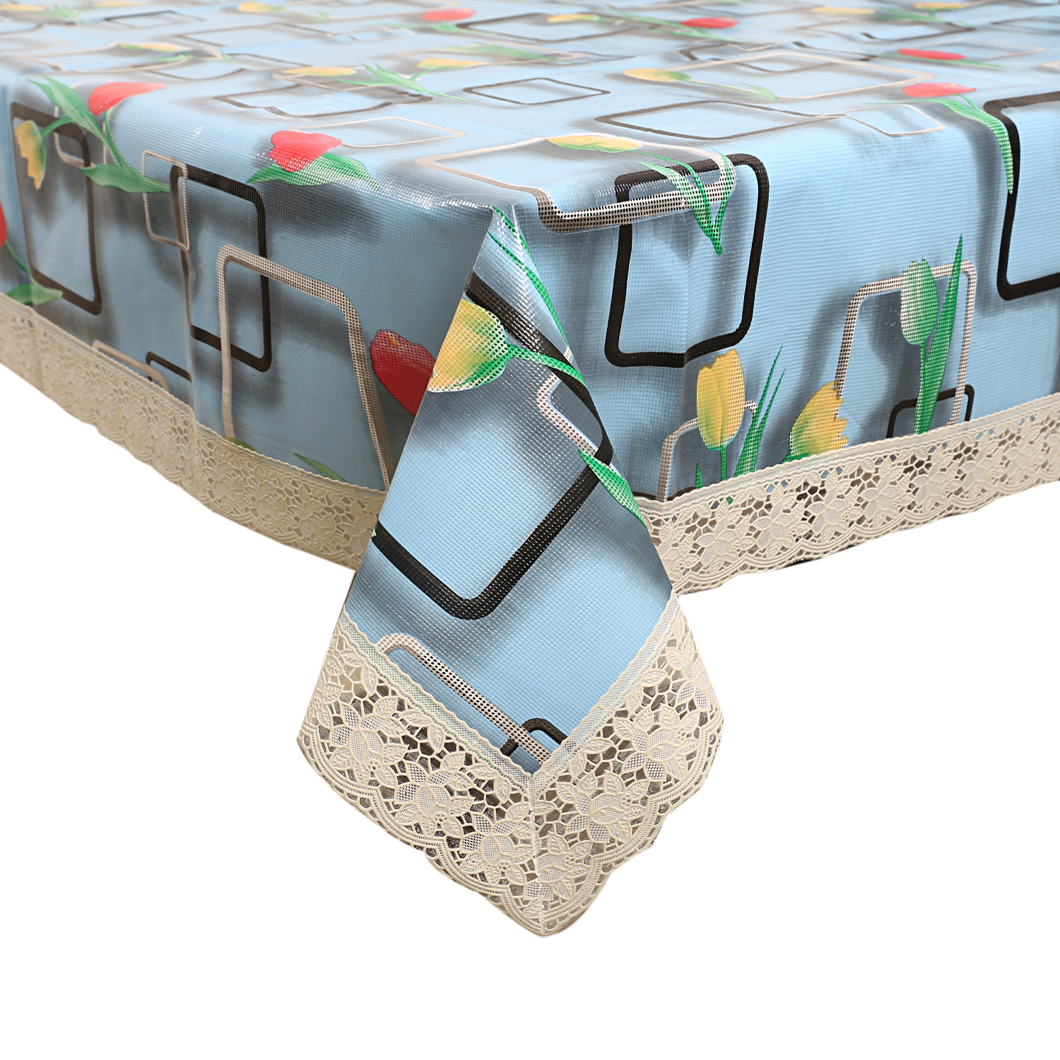 Kuber Industries 3D Floral Design PVC 6 Seater Dining Table Cover 60x90 Inches (Sky Blue)-CTKTC1242