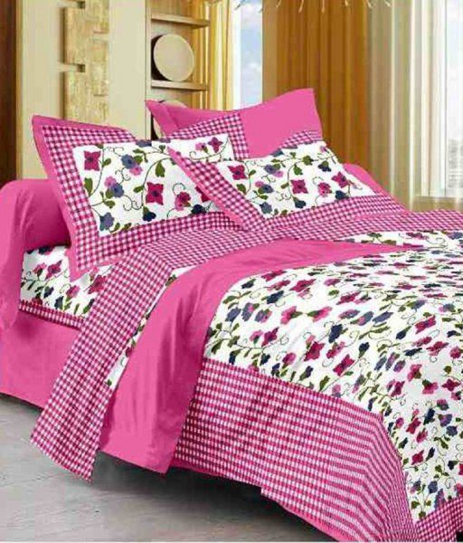 Kuber Industries™ 144 TC Cotton Double Bedsheet with 2 Pillow Covers - Pink (BS15)