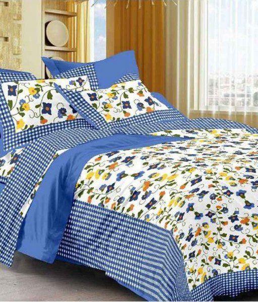 Kuber Industries™ 144 TC Cotton Double Bedsheet with 2 Pillow Covers - Blue (BS16)