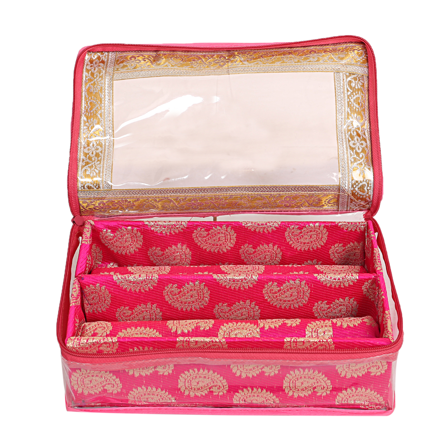 Kuber Industries Wooden 2 Rod Bangle Box (Pink) Set of 2 Pcs