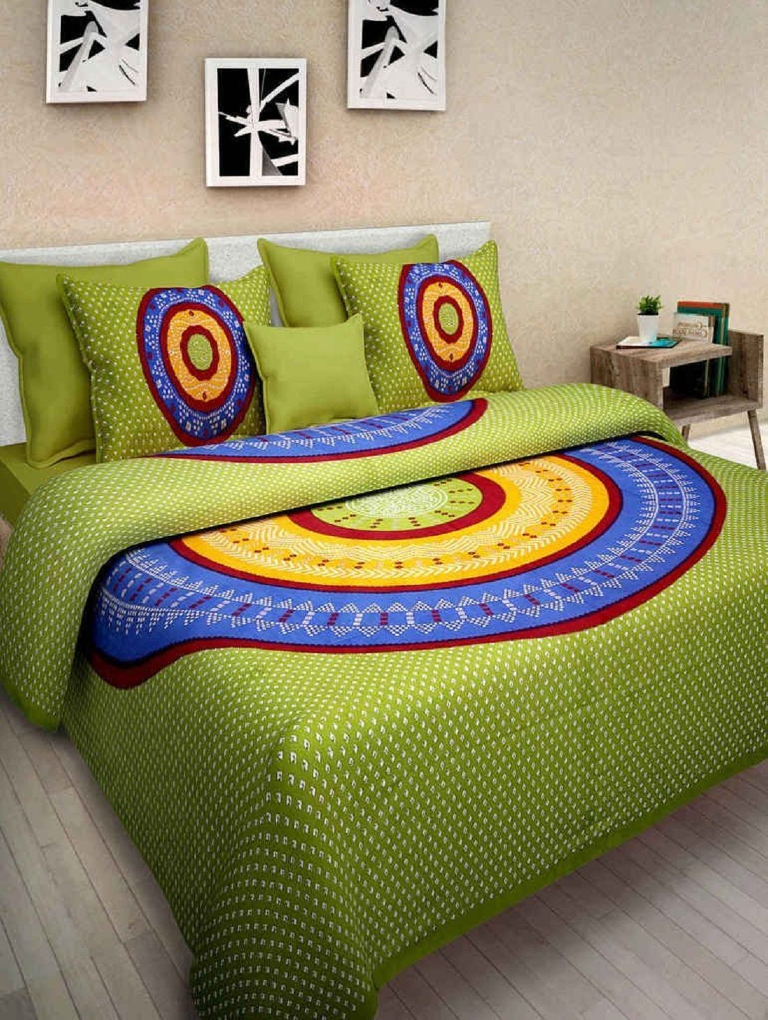 Kuber Industries™ 144 TC Cotton Double Bedsheet with 2 Pillow Covers - Green Bandhani (BS18)