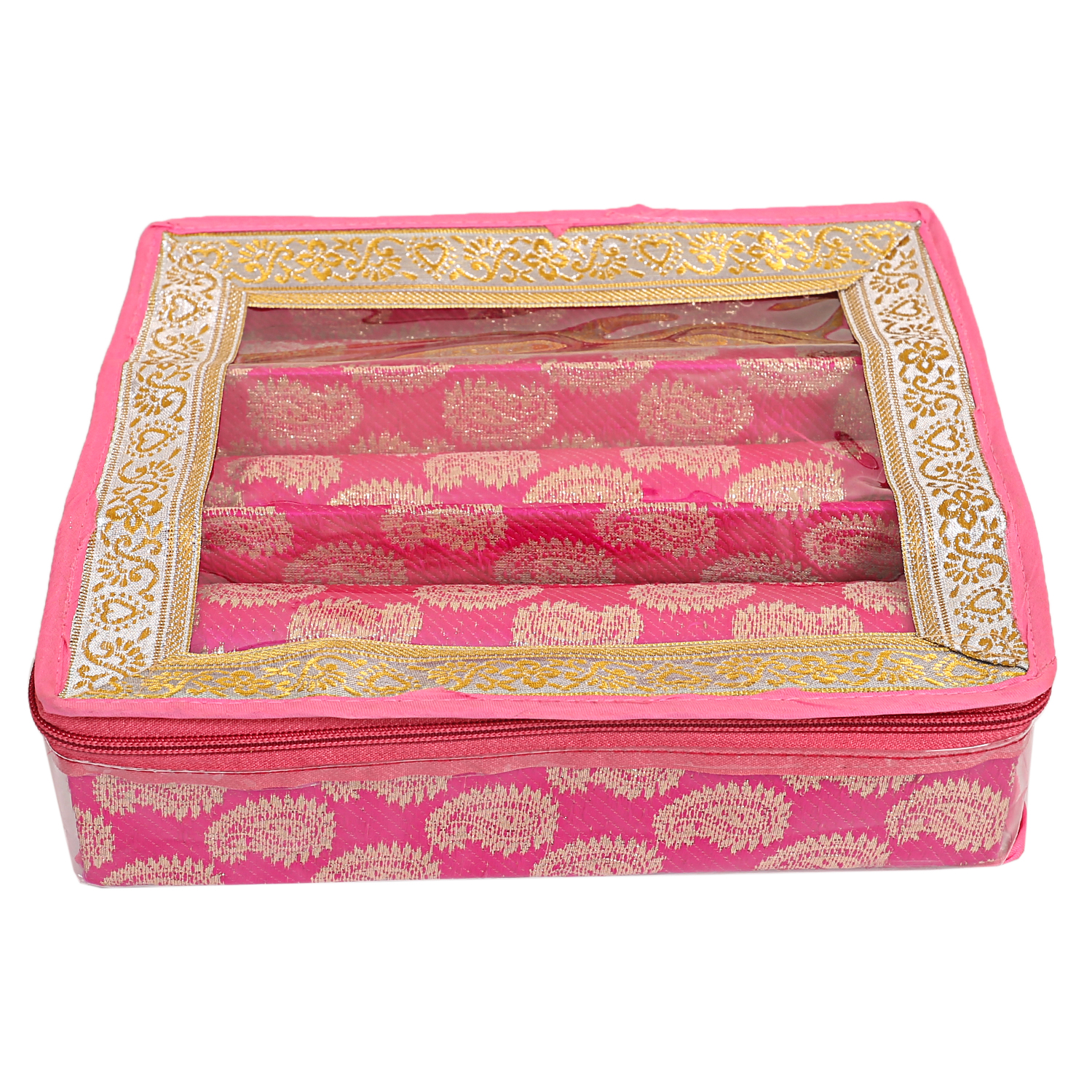 Kuber Industries Wooden 3 Rod Bangle Box (Pink) Set of 2 Pcs