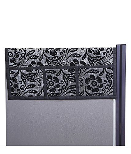 Kuber Industries™ Large Fridge Top Cover Suitable for 300 to 400 Ltr in Black Printed Velvet