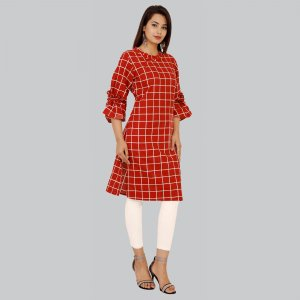Kuber Industries Women Designer Sleeves Maroon Check Printed Straight Kurta