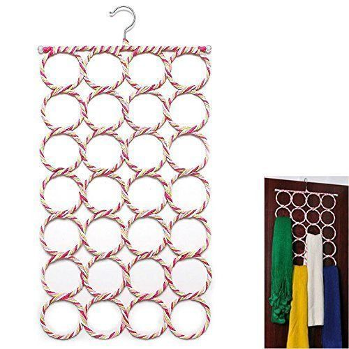"Kuber Industriesâ""¢ Single Piece 28 Rings Folding Rope Hanger for Scarf, Belts, Shawls, Ties and More (Random Color) - KI19590"