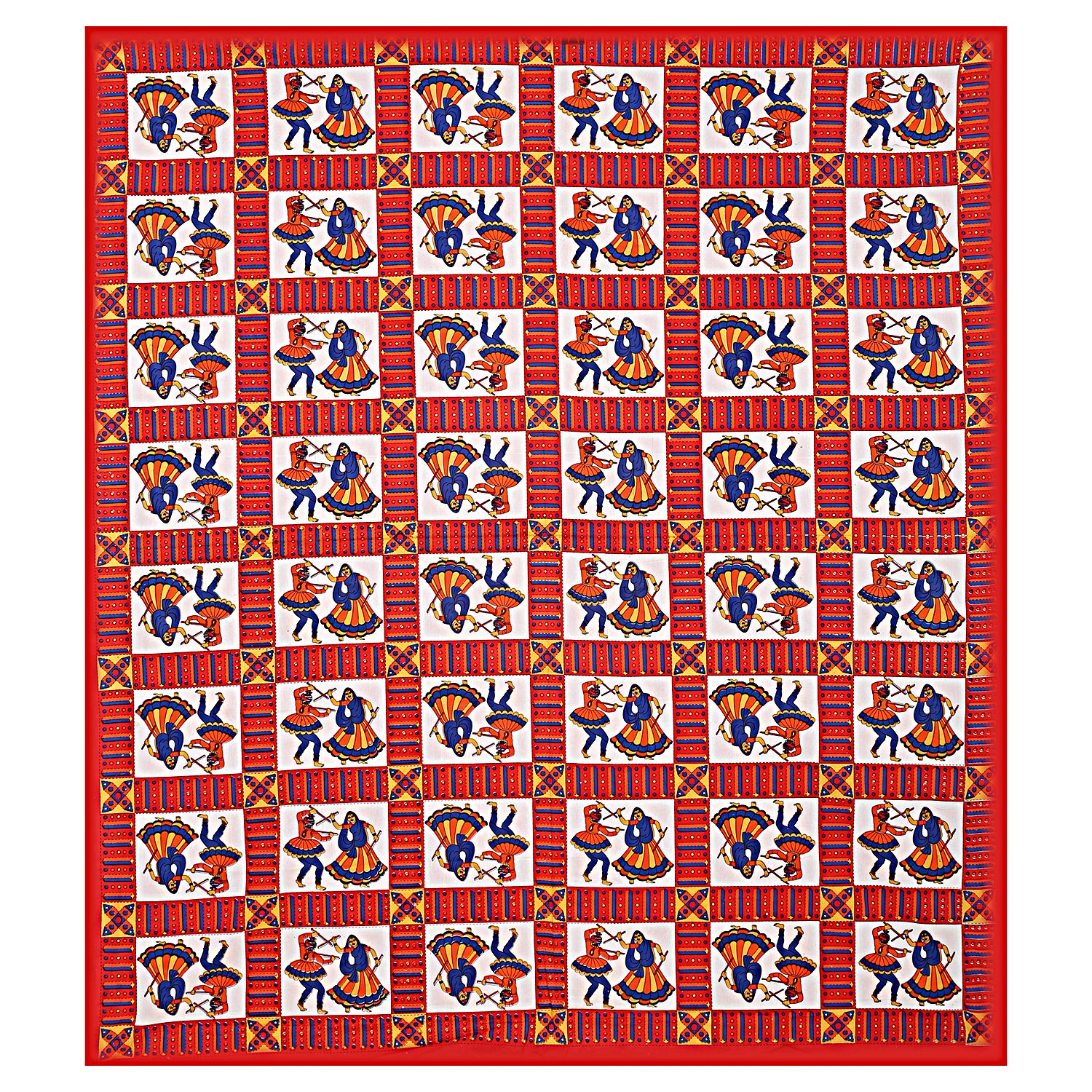 Kuber Industries Cotton 144 TC Double Bedsheet with 2 Pillow Covers (Maroon)Dandiya Design