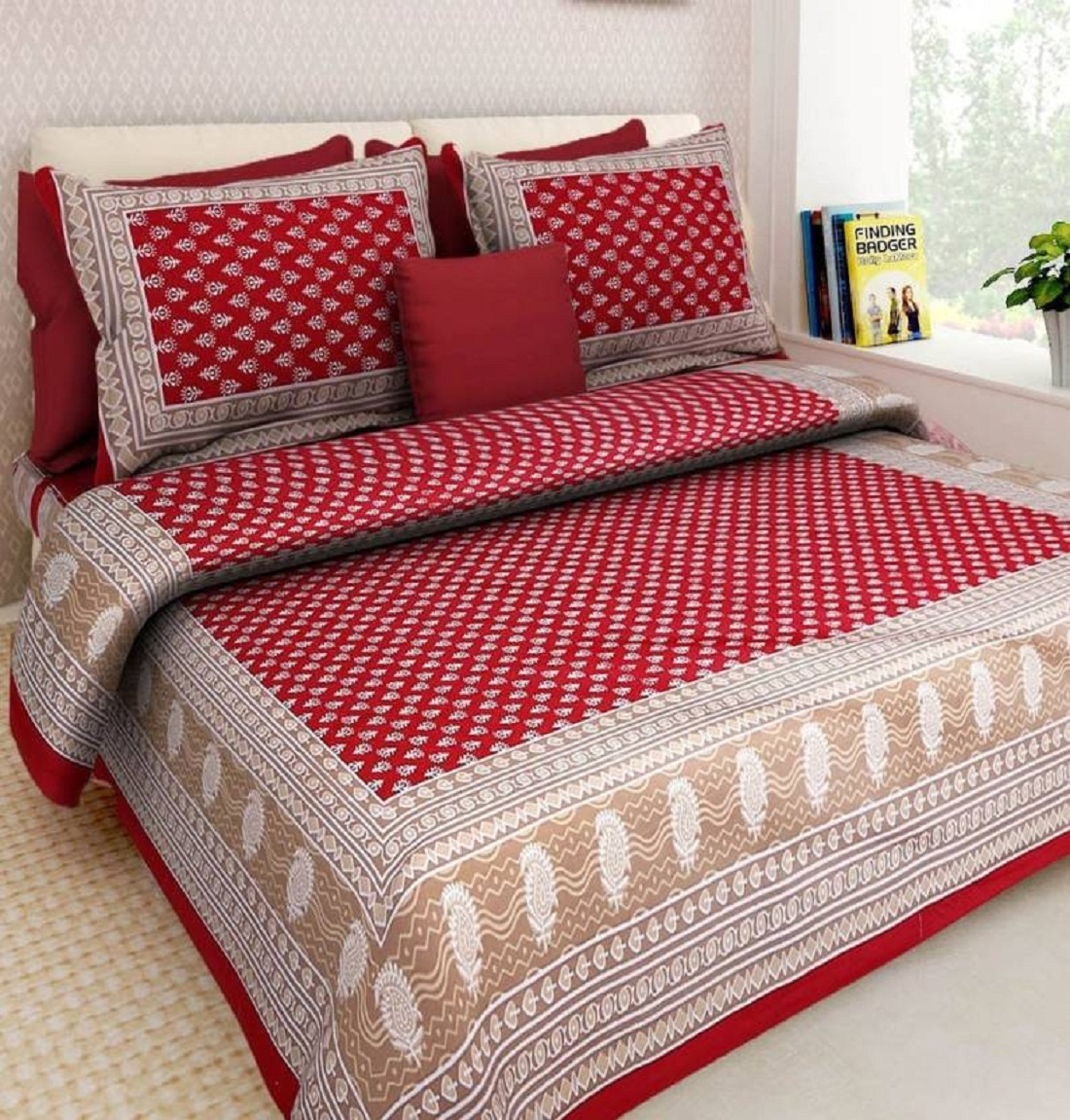 Kuber Industries™ 144 TC Cotton Double Bedsheet with 2 Pillow Covers - Red (BS21)