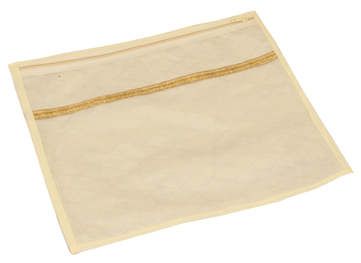 Kuber Industries Non Woven Wardrobe Organizer Saree Cover (Gold) Set of 12 Pcs