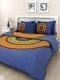 Kuber Industries™ 144 TC Cotton Double Bedsheet with 2 Pillow Covers - Blue Bandani (BS28)