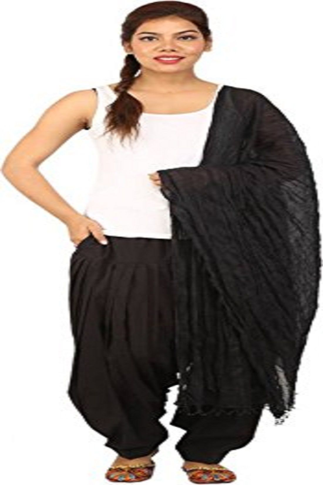 Kuber Industries Cotton Patiala salwar with Dupatta Set (Black & Cream)