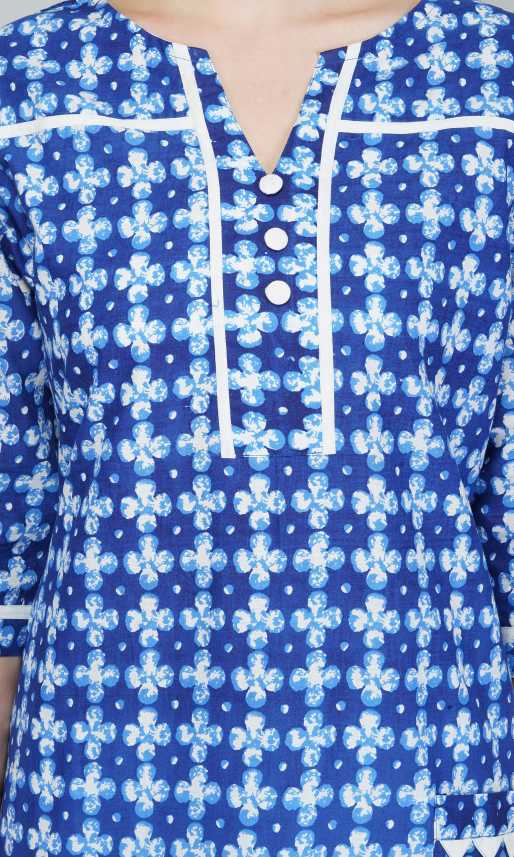 Kuber Industries Women Blue Floral Printed Straight Kurta With Mobile Utility Pocket