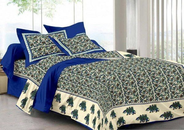 Kuber Industries™ 144 TC Cotton Double Bedsheet with 2 Pillow Covers - Blue (BS4)