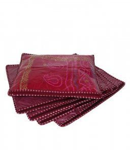 Rexine Saree Cover Set Of 6 Maroon