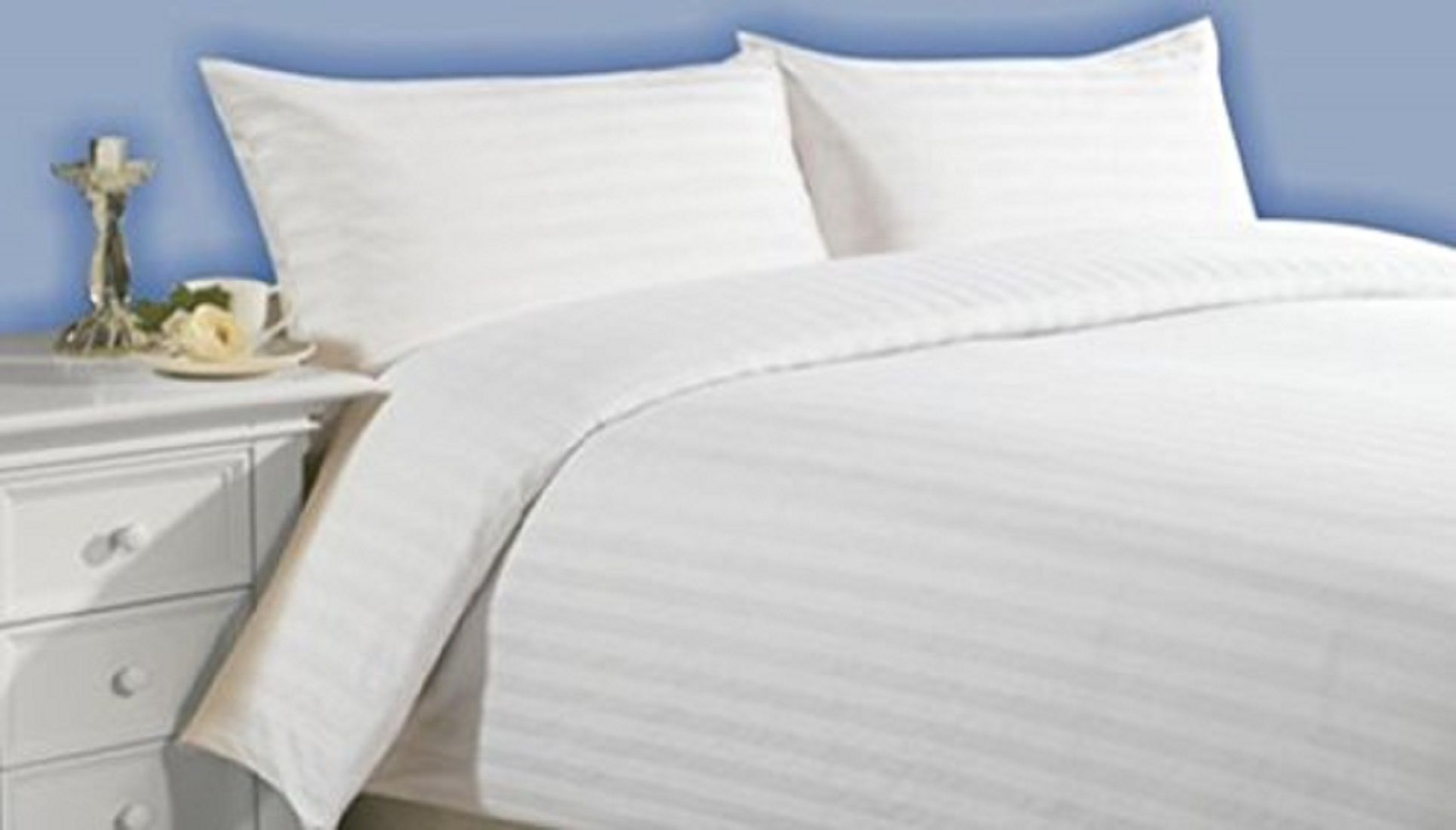 Kuber Industries 180 TC Satin Self-Stripe Double Bedsheet with 2 Pillow Covers (White)