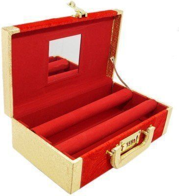 Kuber Industries 2 Rods Transparent Bangle Organizer Box Velvet Coated Jewelry Storage Case With Lock System 11.5*6.5**3.5 Red