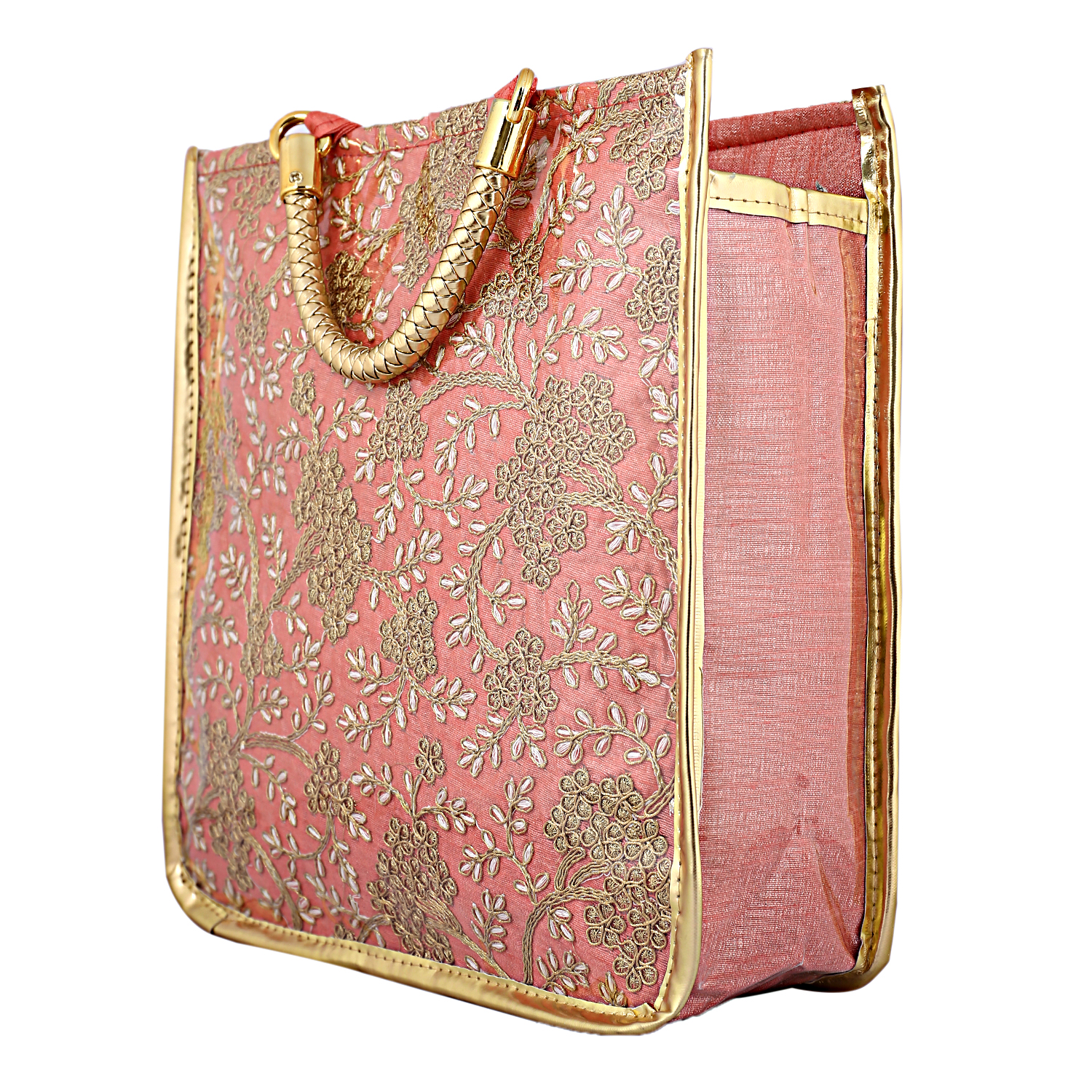 Kuber Industries 2 Pieces Laminated Embroidered Women's Mini Handbag (Purple & Peach) -CTKTC4104