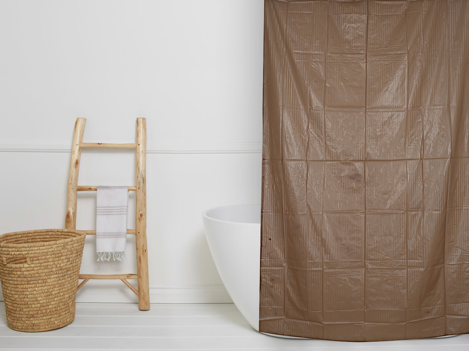 Kuber Industries PVC 7 Feet Shower Curtain with 8 Hooks (Brown)-CTKTC3919