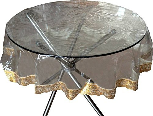 "Kuber Industries PVC Waterproof 4 Seater Round Table Cover with Golden Lace 60"" x 60"" (Gold)-CTKTC3545"
