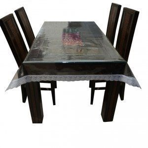 Kuber Industries Dining Table Cover Transparent with Silver Lace 6 Seater