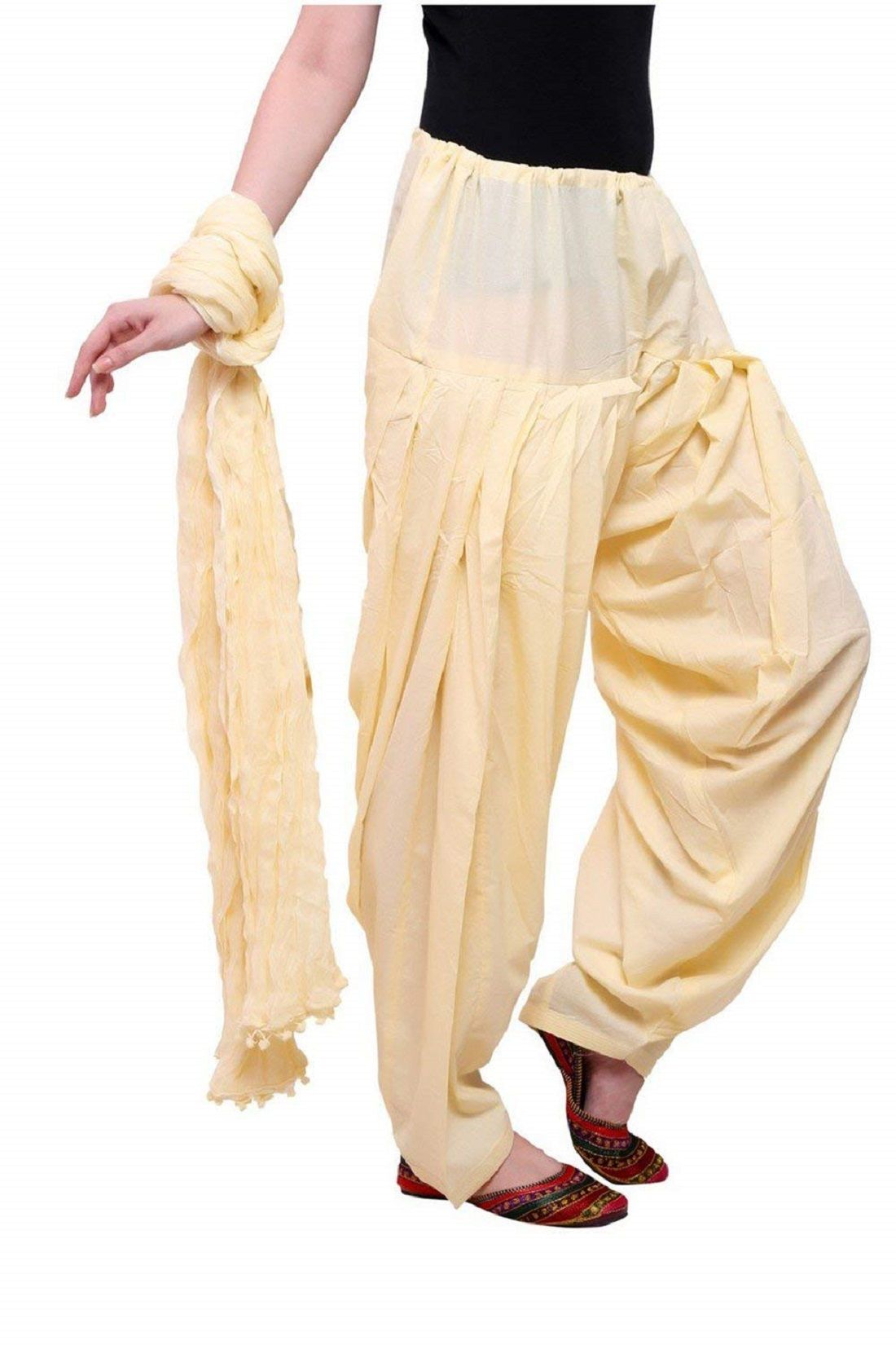 Kuber Industries Cotton Patiala salwar with Dupatta Set (Beige & Cream)
