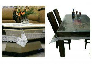 Kuber Industries Combo of Dining & Center Table Cover In Transparent (Silver Lace)