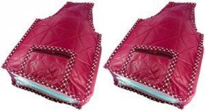 Kuber Industries Rexine Quilted Blouse Cover Set of 2 Pcs(Maroon)