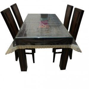 Kuber Industries Dining Table Cover Transparent with Golden lace 6 seater