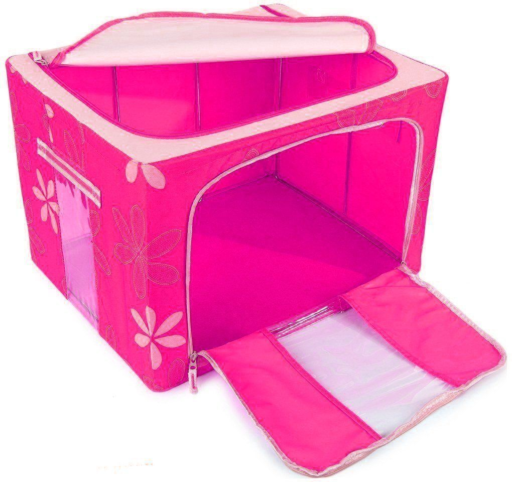 Saree Cover /Lehenga/Woolens Storage Box with Steel Frames - Pink Flower
