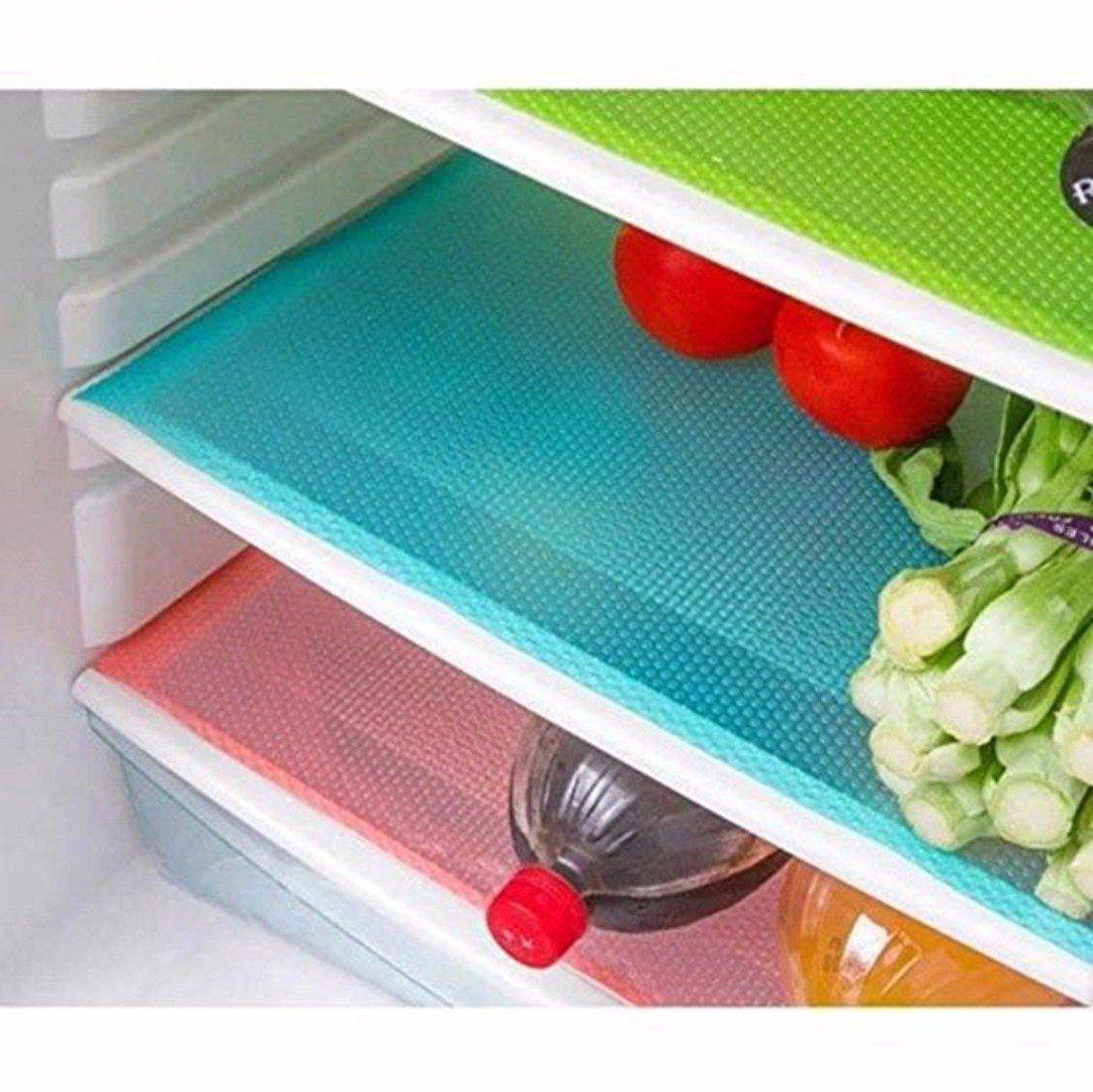 Kuber IndustriesTM Refrigerator Drawer Mats / Fridge Mats/ Multi Purpose Mats Set of 6 Pcs (Multi Plastic)