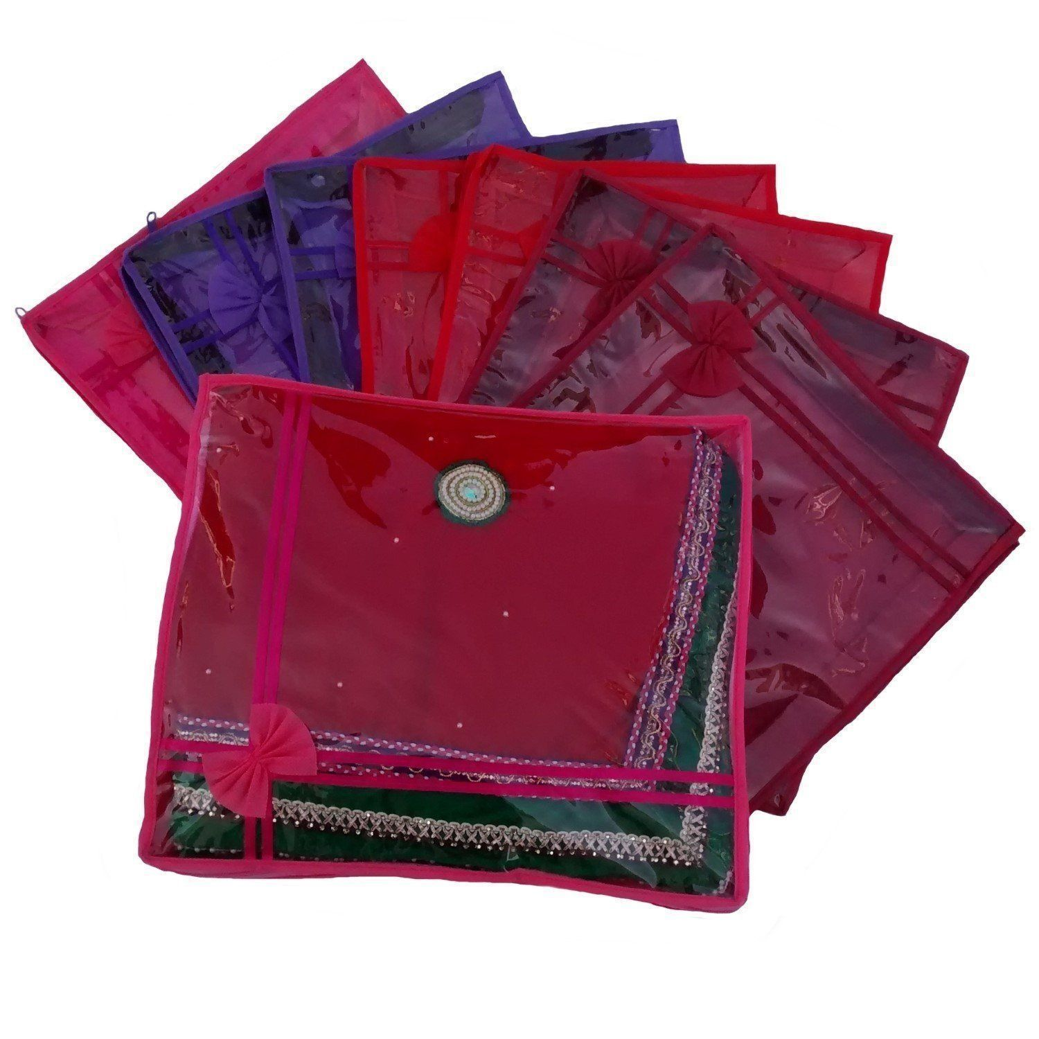 Kuber Industries Non Wooven Saree Cover Set of 8 Pcs