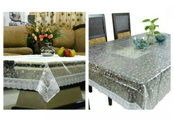 Kuber Industries Combo of Dining & Center Table Cover In 3D Transparent (Silver Lace)