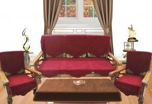 Kuber Industries Maroon Embossed 5 Seater Net Sofa Cover Set -10 Pieces