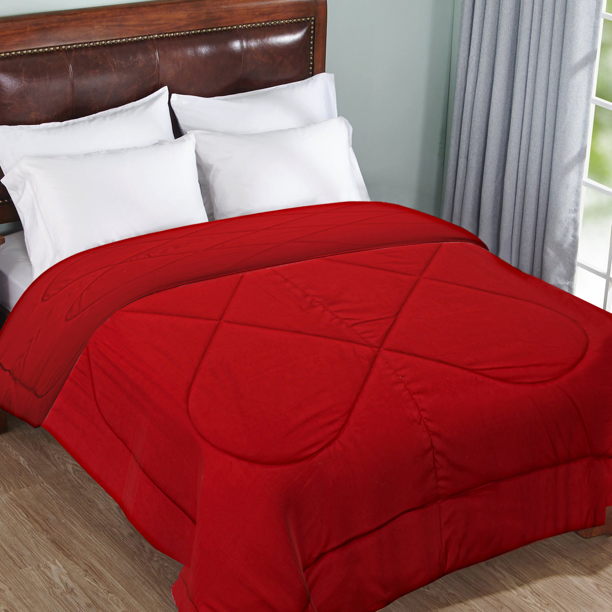Kuber Industries Microfibre Reversible Double Bed Comforter (Red),King Size-CTKTC3842
