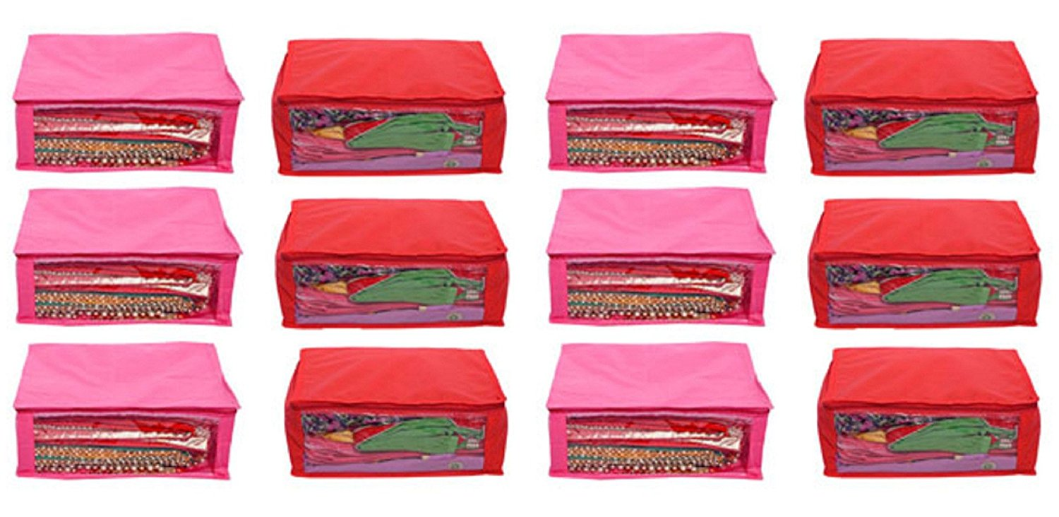 Kuber Industries™ Non Woven Saree Cover Set of 12 Pcs (Pink+Red) 90 GSM Fabric