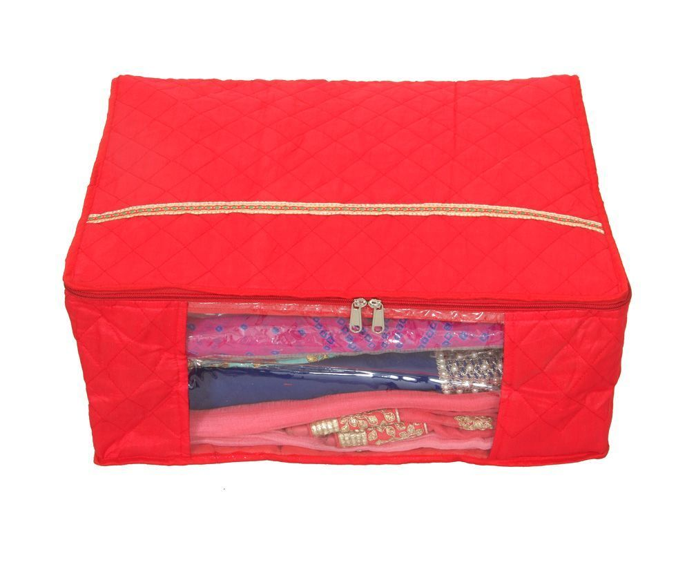 Kuber Industries 3 Layered Red Quilted Satin Saree Cover (Wedding Collection Gift)