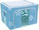 Saree Cover /Lehenga/Woolens Storage Box with Steel Frames - Sky Blue Flower