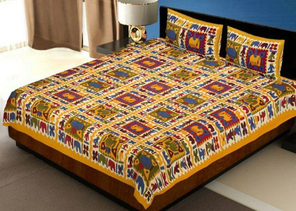 Kuber Industries™ 144 TC Cotton Double Bedsheet with 2 Pillow Covers - Yellow (BS9)