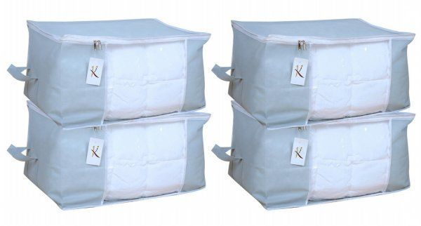 Kuber Industries™ Underbed Storage Bag, Storage Organiser,Blanket Cover Set of 4 Pcs - Grey (Extra Large Size With Handle) Code-UDB06