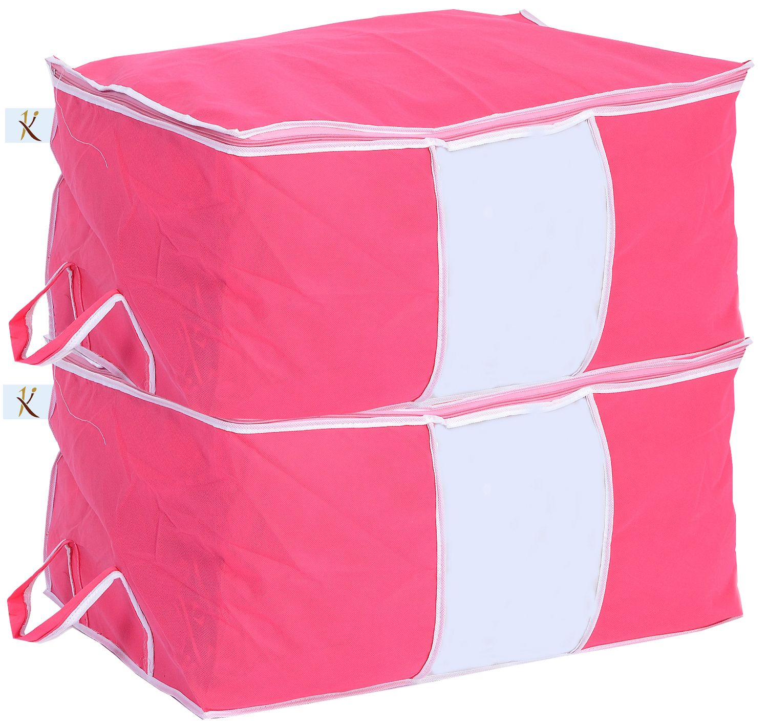 Kuber Industries™ Big Underbed Storage Bag,Storage Organiser Set of 2 Pcs - Pink (Code-UNDB010)