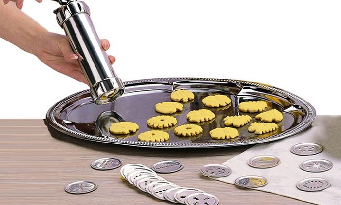 Kuber Industries Stainless Steel Kitchen Press Snacks Maker with 15 forming discs - Namkeen/Sev Maker (Silver)