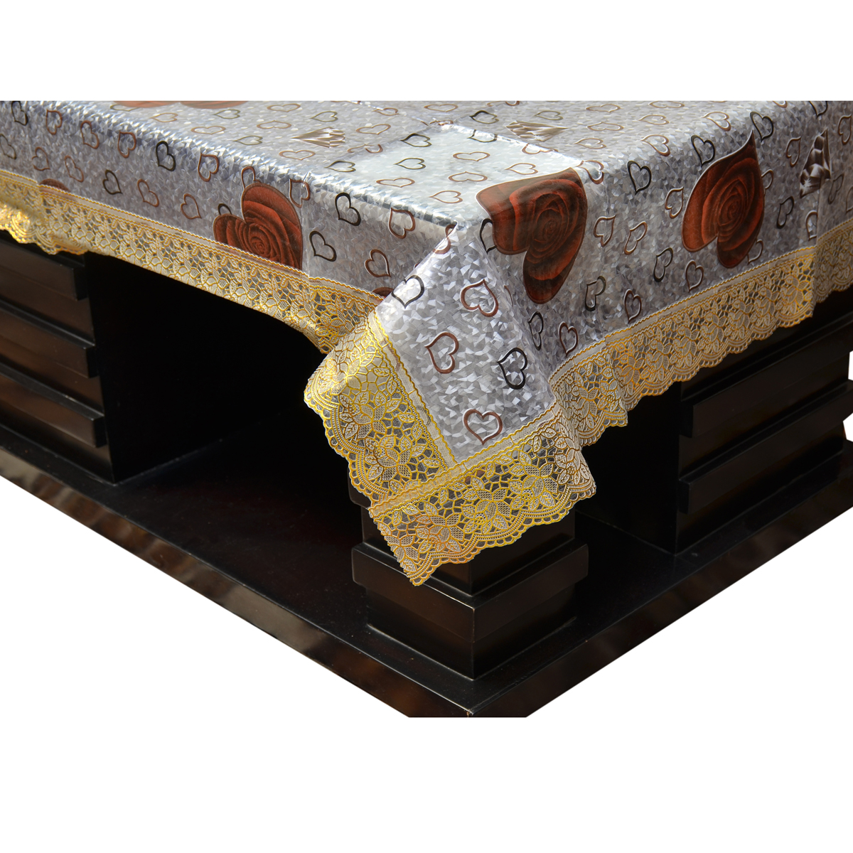Kuber Industries™ Waterproof 3D Design Center Table Cover 4 Seater 40*60 Inches (Exclusive Design With Golden Lace) (Code-CT0007)